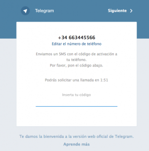 Telegram Web confirmación