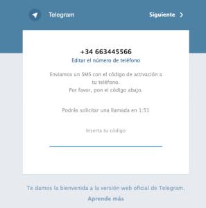 Telegram Web confirmación