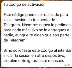 telegram web mensaje de activación